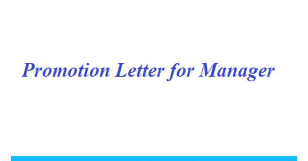 Promotion Letter for Manager