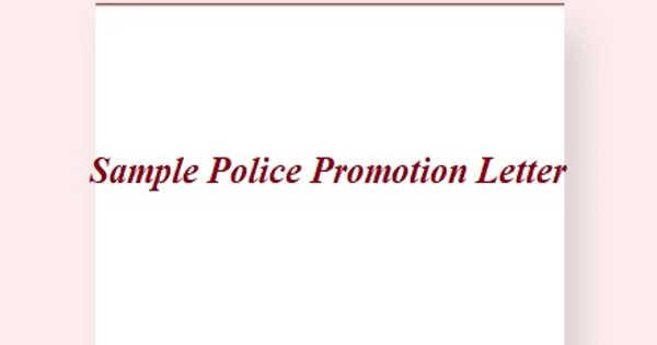 Sample Police Promotion Letter
