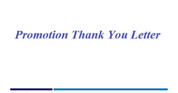 Sample Promotion Thank You Letter Format