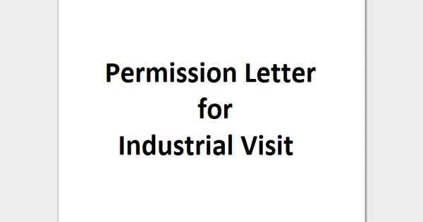 Sample Permission Letter Format for Industrial Visit
