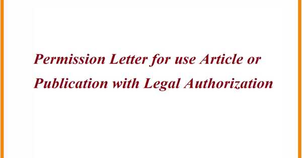 Permission Letter for use Article or Publication with Legal Authorization